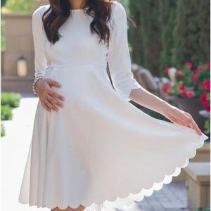 PinkBlush white scalloped hem maternity dress